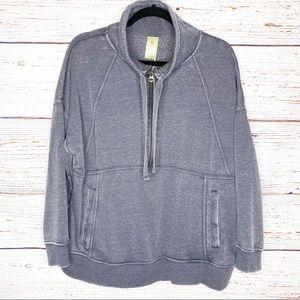 Tangerine Mineral Wash 1/4 zip grey pullover